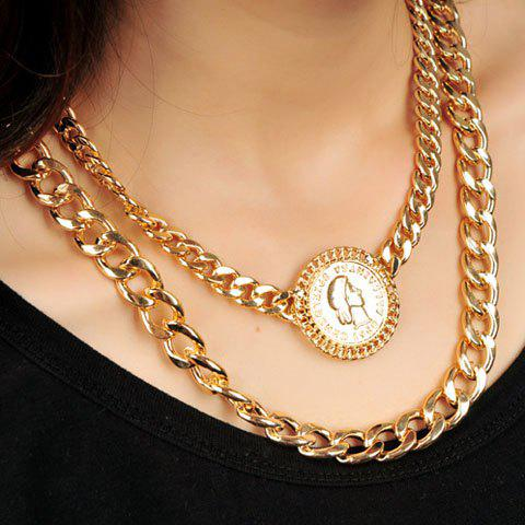 Gorgeous Beauty Pattern Round Pendant Double Layered Alloy Necklace For Women - GOLDEN
