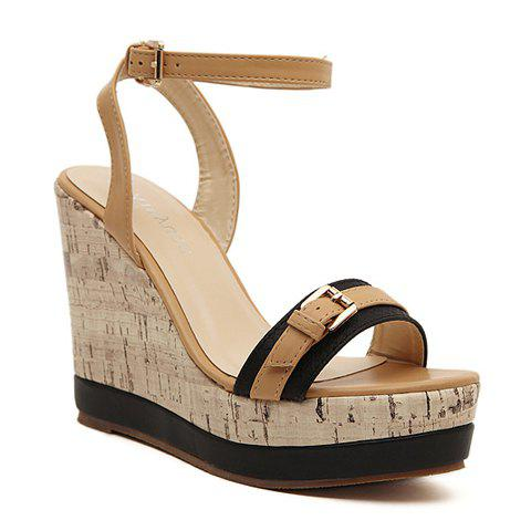 Korean Style Color Matching And Buckle Design Women 39 S Sandals Black 3 In Sandals
