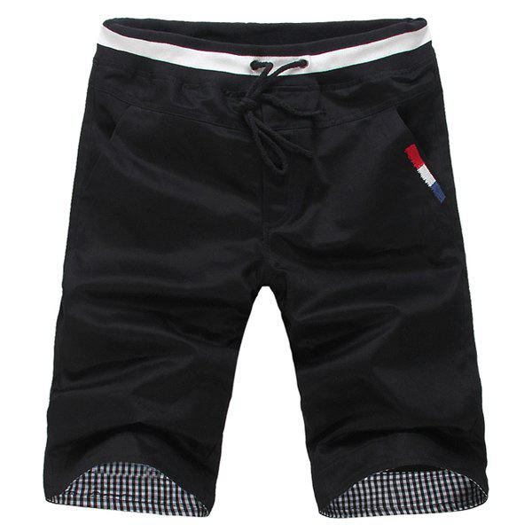 Stylish Embroidered Candy Color Slimming Lace-Up Men's Cotton Shorts - BLACK M