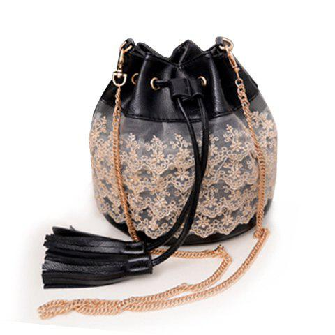Sweet Lace and Tassels Design Crossbody Bag For Women - BLACK