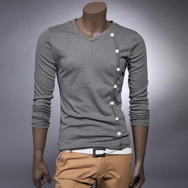 Fashion Style V-Neck Buttons Embellished  Long Sleeves Cotton Men's T-shirt - GRAY L