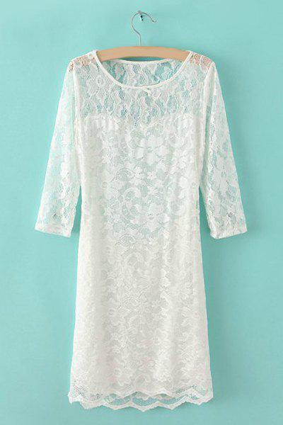 Floral Print Hollow Out Design 1/2 Length Sleeve Round Collar Lace Packet Buttock Dress - WHITE M