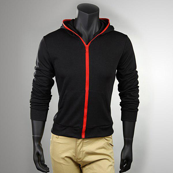 Fashion Style Hooded Zipper Black Long Sleeves Polyester Coat For Men - BLACK M