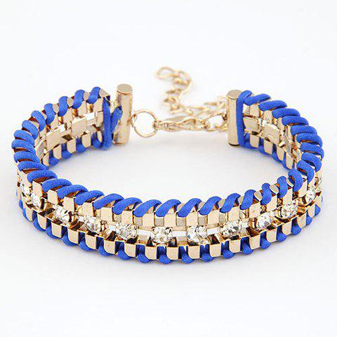 Multicolor Bohemian Handknitted Diamante Alloy Link Bracelet For Women
