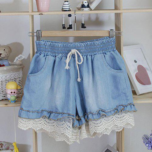 Women's Cute Stringy Selvedge Hollow Out Drawstring Denim Shorts - LIGHT BLUE ONE SIZE
