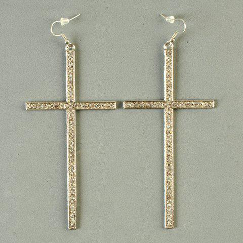 One Set of Vintage Long Cross Necklace and Earrings For Women - SILVER