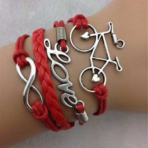 Letter Infinity Bicycle Layered Bracelet - AS THE PICTURE