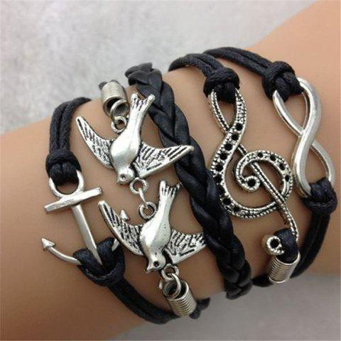 Infinity Pigeon Note Anchor Layered Bracelet - AS THE PICTURE