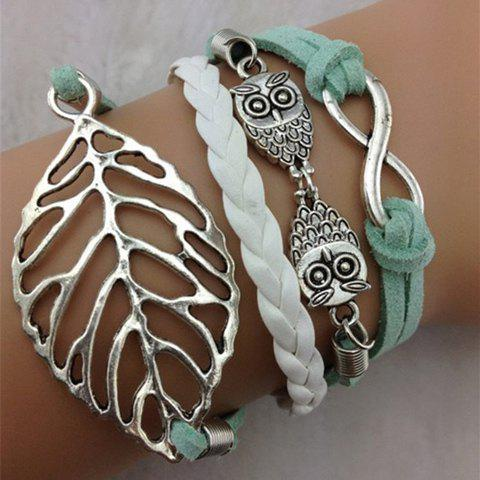 Leaf Infinity Owl Layered Bracelet - AS THE PICTURE