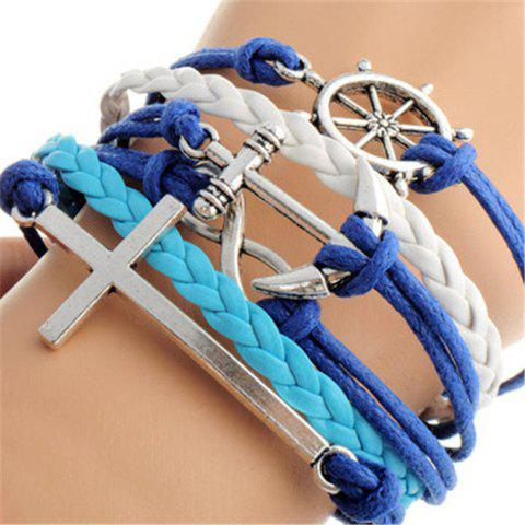 Anchor Cross Helm Layered Bracelet - AS THE PICTURE