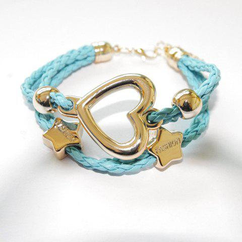 Heart Star Openwork Weaved Bracelet - AZURE