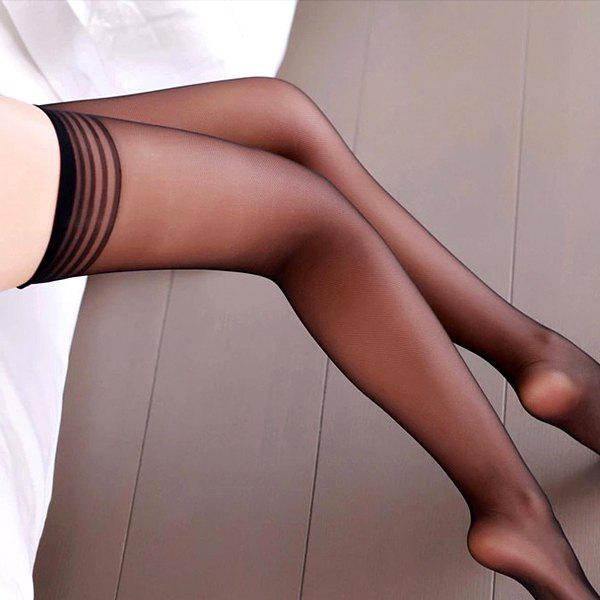 Slimming Solid Color Striped Sexy Style Women's Stocking