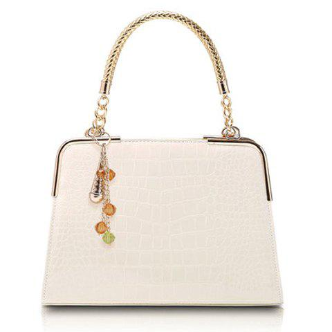 Elegant Metal and Patent Leather Design Tote Bag For Women - OFF WHITE