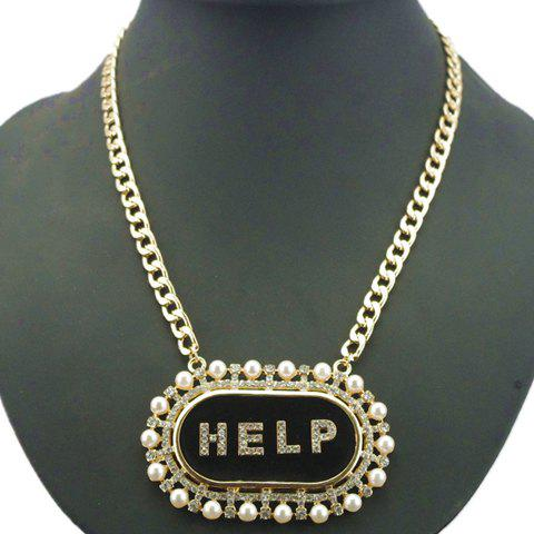 Fashion Faux Pearl and Word HELP Embellished Pendant Necklace For Women - BLACK