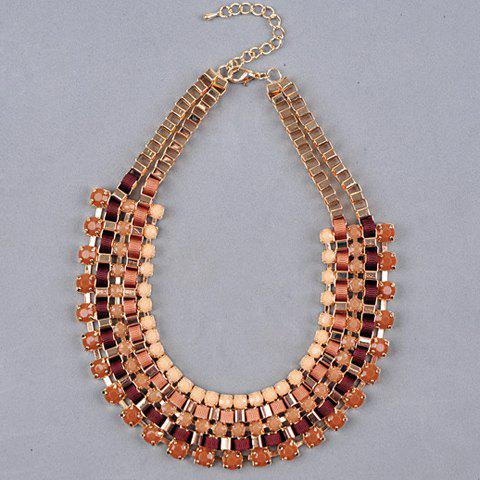 Faux Gem Embellished U Shape Layered Necklace - LIGHT COFFEE