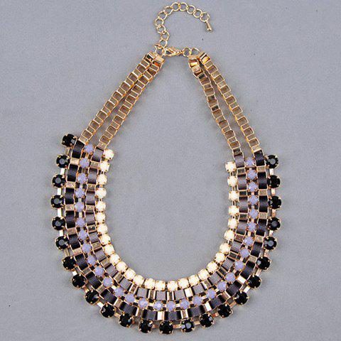 Faux Gem Embellished U Shape Layered Necklace - BLACK