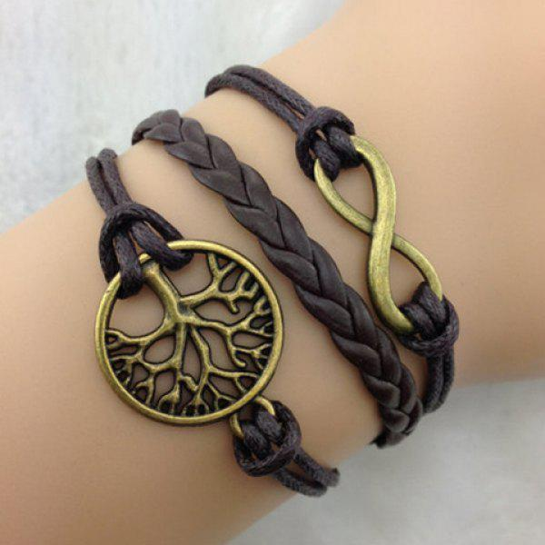 Vintage Leaf and 8 Embellished Leather Knitted Charm Bracelet For Women