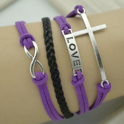 Chic Cross and Letter Embellished Leather Knitted Charm Bracelet For Women - PURPLE