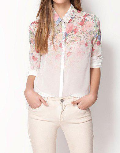 Gradient Floral Print Shirt Collar Long Sleeve Chiffon Trendy Style Women's Shirt - WHITE L