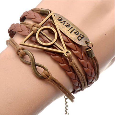 Infinity Triangle Layered Bracelet - BROWN
