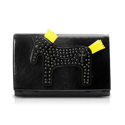 Pretty Horse Pattern and Rivets Design Crossbody Bag For Women