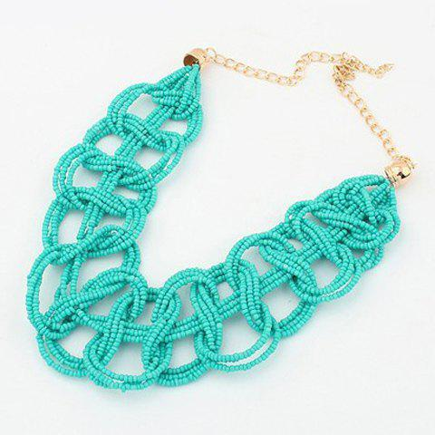 Fashion Retro Beads Openwork Pendant Necklace For Women - LIGHT GREEN