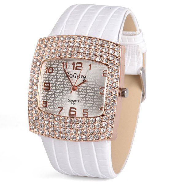 Stylish Quartz Watch with Diamonds Analog Indicate Leather Watch Band for Women stylish women watch analog with bear diamonds round dial leather watch band