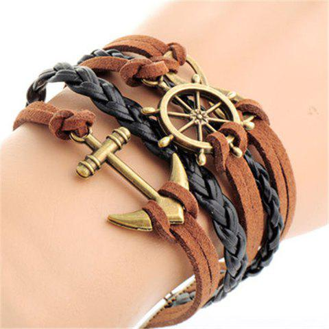8 Shape Anchor Helm Layered Strand Bracelet - BROWN