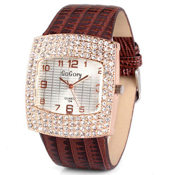 Stylish Quartz Watch with Diamonds Analog Indicate Leather Watch Band for Women thumbnail