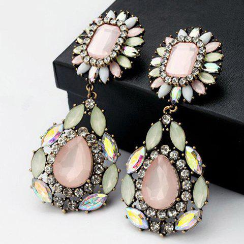 Pair of Rhinestone Teardrop Shape Drop Earrings  pair of beads teardrop shape drop earrings
