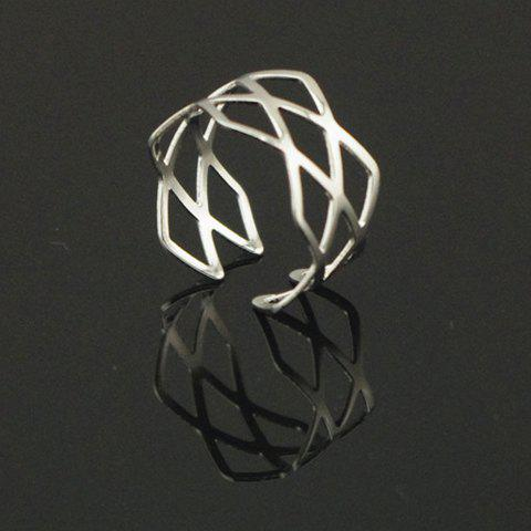 Trendy Hollow Design Alloy Cuff Ring For Women - SILVER ONE-SIZE