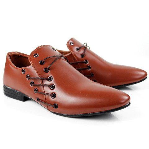 style pointed toe and lace up design formal shoes
