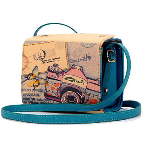 Sweet Camera Print and PU Leather Design Crossbody Bag For Women - GREEN