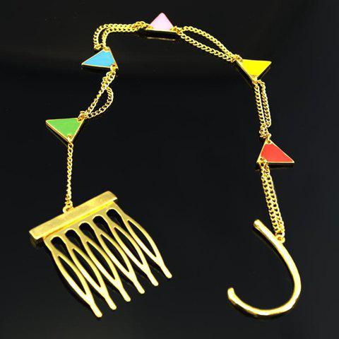Stylish Colored Triangle Embellished Long Tassel Hair Comb For Women - COLORFUL