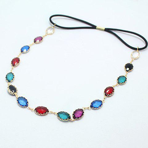 Fashion Colored Faux Gem Embellished Hairband For Women - COLORFUL