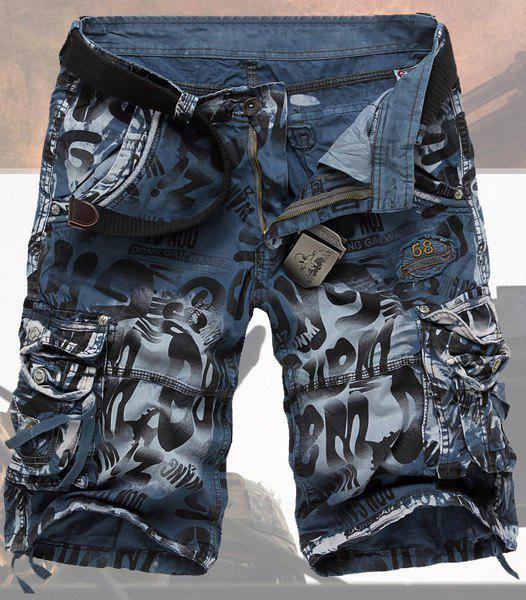Casual Style Abstract Print Stereo Pockets Design Polyester Shorts For Men - BLUE 34