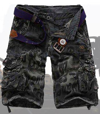 Casual Style Abstract Print Stereo Pockets Design Polyester Shorts For Men - DEEP GRAY 32