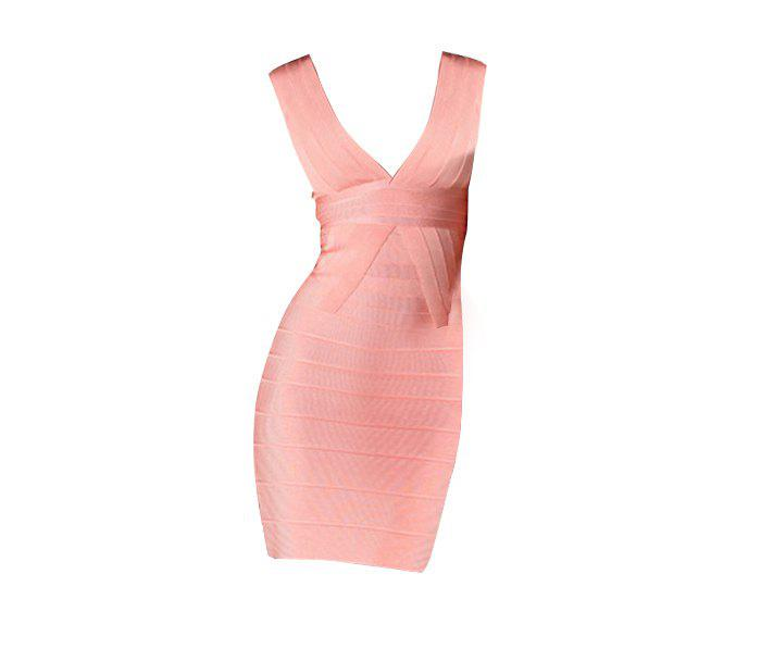 Sexy Plunging Neck Zipper Back Sleeveless Pink Women's Bandage Dress - PINK M