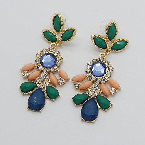 Pair of Bohemian Diamante Leaf Pendant Earrings For Women - DEEP GREEN