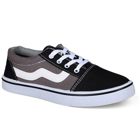 Stylish Round Toe and Color Matching Design Canvas Shoes For Men