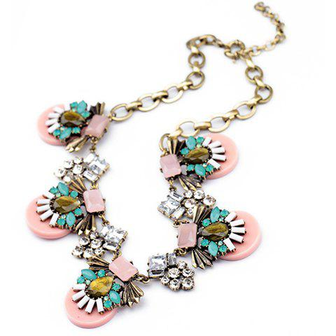 Brilliant Style Sunflower Faux Gem Inlaid Necklace For Women - PINK