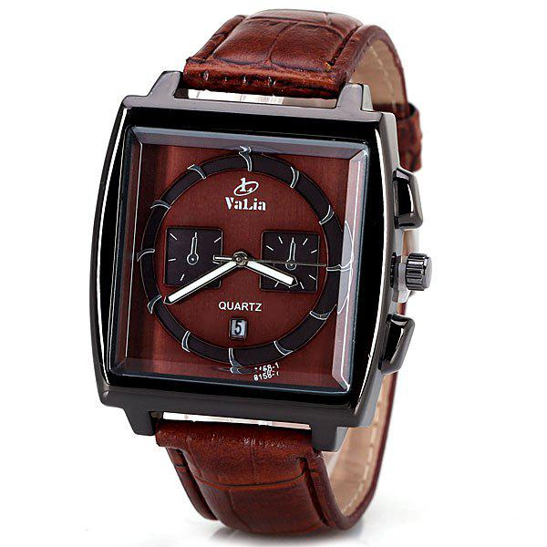 Popular Quartz Watch with Date Analog Indicate Leather Watchband for Men - BROWN