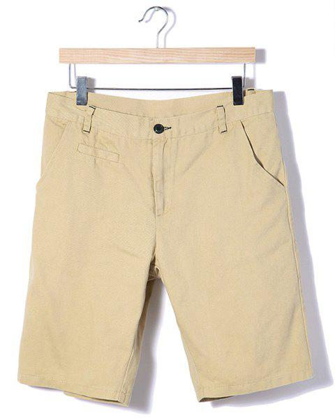 Stylish Candy Color Sutures Design Slimming Straight Leg Men's Cotton Shorts - KHAKI L
