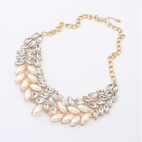 Delicate Pearl Rhinestone Detachable Collar Necklace For Women -  AS THE PICTURE