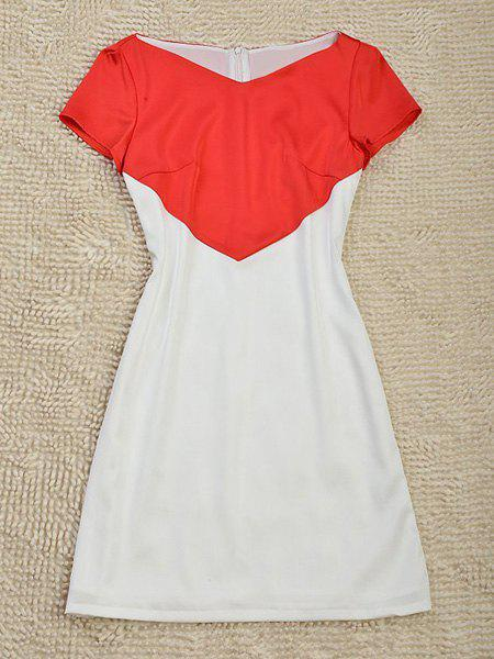 Simple Style V-Neck Short Sleeve Color Block Slimming Women's Dress - RED/WHITE S