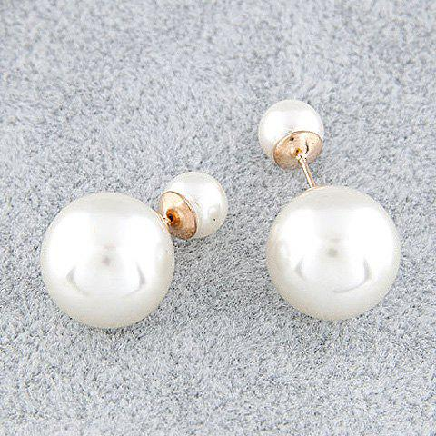 Pair of Faux Pearl Stud Earrings - WHITE