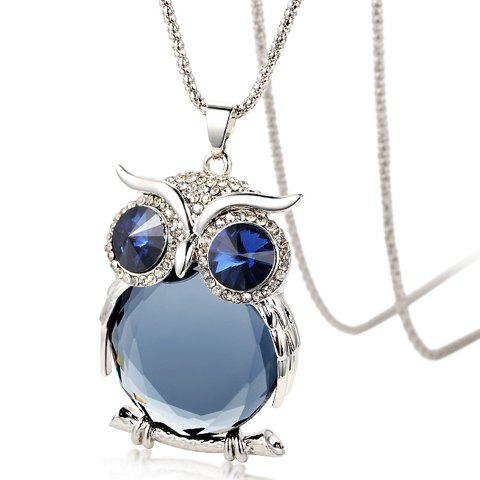 Chic Diamante Faux Crystal Night Owl Pendant Sweater Chain Necklace For Women