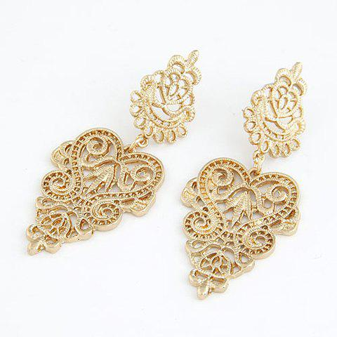 Pair of Openwork Flower Pattern Earrings - GOLDEN