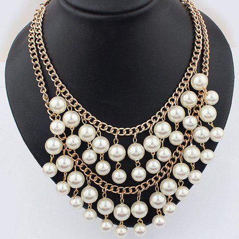 Faux Pearl Layered Pendant Necklace - AS THE PICTURE