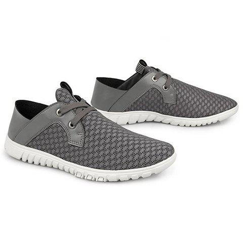 Trendy Mesh and Lace-Up Design Casual Shoes For Men, GRAY, 2 in ...